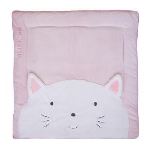 Doudou et compagnie - DC3062 - Tapidou chat rose - taille 100x100 cm (334398)
