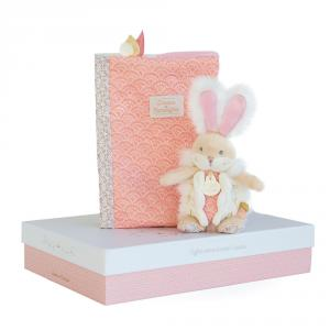 Doudou et compagnie - DC3498 - Lapin de sucre rose - coffret protège carnet de santé + doudou (399738)