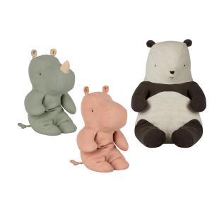 Maileg - BU029 - Poupées panda moyen, amis safari petit rhino vert, amis de safari, petit hippo rose - taille 31 cm (415564)