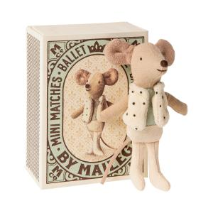 Maileg - 16-0725-01 - Souris dansante dans sa boîte à allumettes, Petit Frère -  10 cm (421760)