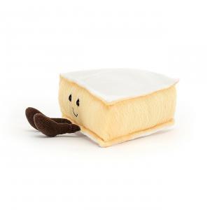 Jellycat - A2BRIE - Peluche fromage brie Amuseable - l = 22 x H = 9 cm (457342)