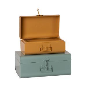 Maileg - 19-1530-00 - Set de 2 valises de rangement - bleu / ocre (460898)