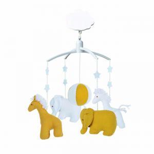 Trousselier - VM1149 04 - Mobile Musical Girafe, Elephant Curry & Blanc (463580)