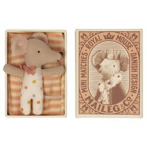 Maileg - 16-1712-01 - Bébé souris, Sleepy/waky dans une boîte d'allumettes - Fille (472128)